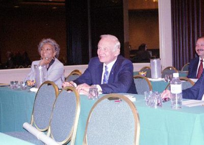 Star Trek's Nichelle Nichols and Apollo 11 Astronaut Buzz Aldrin at a special NSS presentation at the 2002 World Space Congress