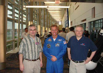 NSA member Charlie Klingel, CSSS member Brian Szymanski, CSSS speaker Jim Plaxco at NSA Astronomy Day at Harper College.