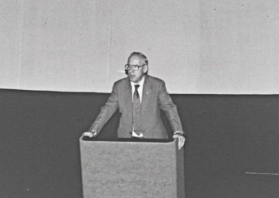 Apollo 13 astronaut James Lovell introducing cosmonaut Georgi Grechko at the Adler Planetarium as a part of his CSSS Chicago speaking tour.
