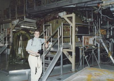 Jim Plaxco in front of the under-construction Space Shuttle Endeavour at Rockwell's Palmdale CA facility - May 1990