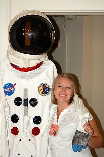 Megan, from the Music Institute of Chicago, posing with a spacesuit at the Blast Off concert - Sept. 2007