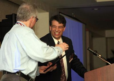 CSSS Vice President Jim Plaxco accepts the NSS Chapter Award for Public Outreach from National Space Society Vice President for Chapters Arthur Smith at the International Space Development Conference in Los Angeles, California May 6, 2006.