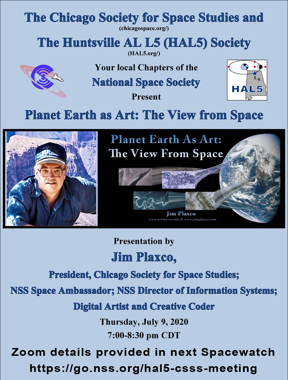 NSS CSSS HAL5 joint meeting flyer for Planet Earth as Art