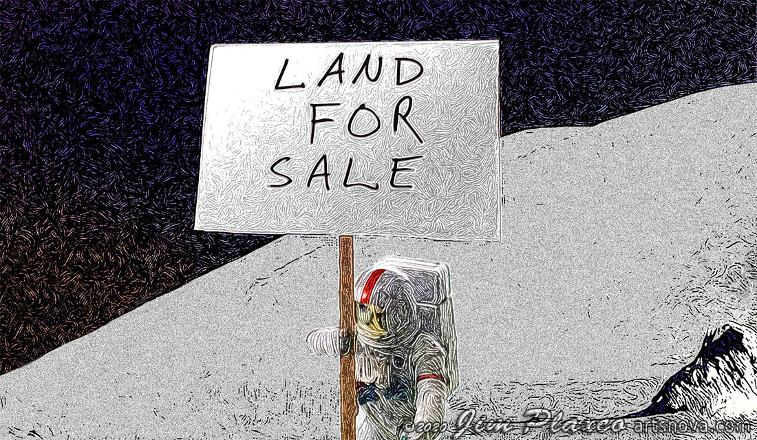Property rights and lunar land for sale sign with astronaut