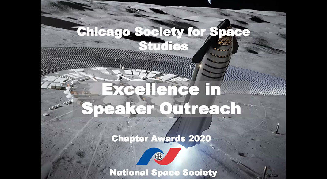 Chicago Society for Space Studies Receives Speaker Outreach Award
