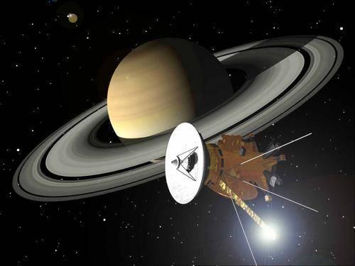 Artist's impression of Cassini-Huygens at Saturn