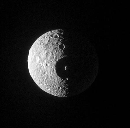 Figure 4. Cassini images Mimas with its large crater Herschel