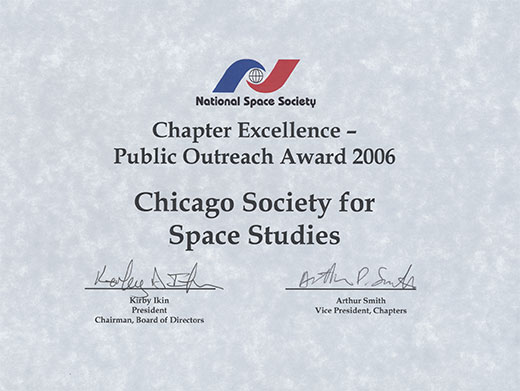 National Space Society Chapter Excellence Public Outreach Award 2006