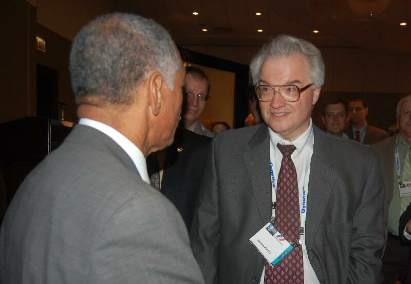 Jim Plaxco speaking with NASA Administrator Charles Bolden