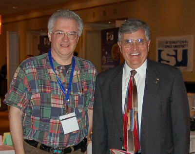 Apollo astronaut Harrison Schmitt (right) and CSSS Vice President Jim Plaxco at the 2007 International Space Development Conference