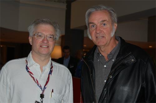 CSSS President Jim Plaxco meeting Burt Rutan, winner of the X-Prize