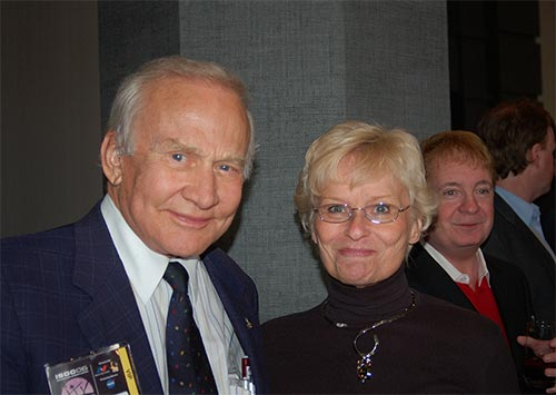 Figure 5: CSSS member Karen with Apollo 11 astronaut Buzz Aldrin at the Orbit Awards banquet reception
