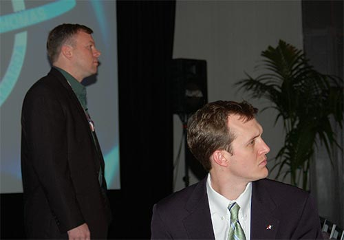 NSS Executive Director George Whitesides with astronaut and STS-114 Space Shuttle pilot James Kelly