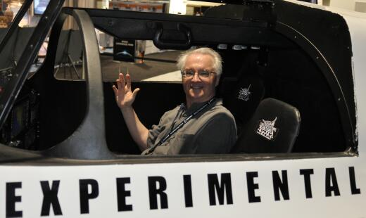 Jim Plaxco in the cockpit of the XCor Lynx spacecraft mockup