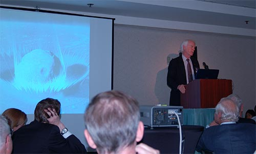 Apollo astronaut and Chairman of the B612 Foundation Rusty Schweickart discussing the asteroid impact hazard